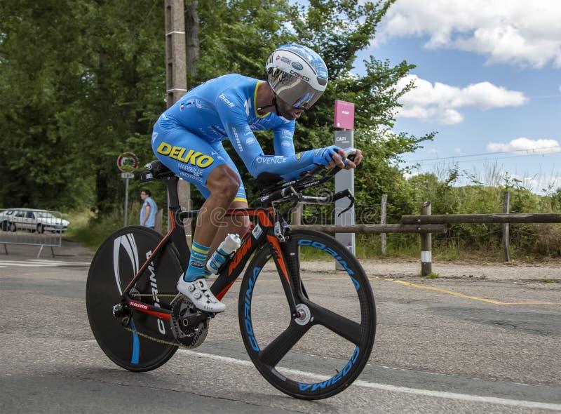 Il ciclista Julien El Fares - Criterium du Dauphine 2017 fotografia stock