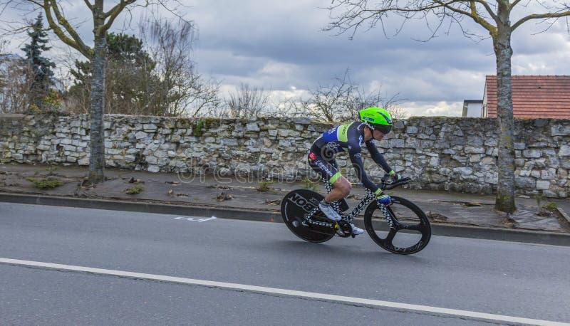 Il ciclista Julien Loubet - 2016 Parigi-piacevole fotografia stock