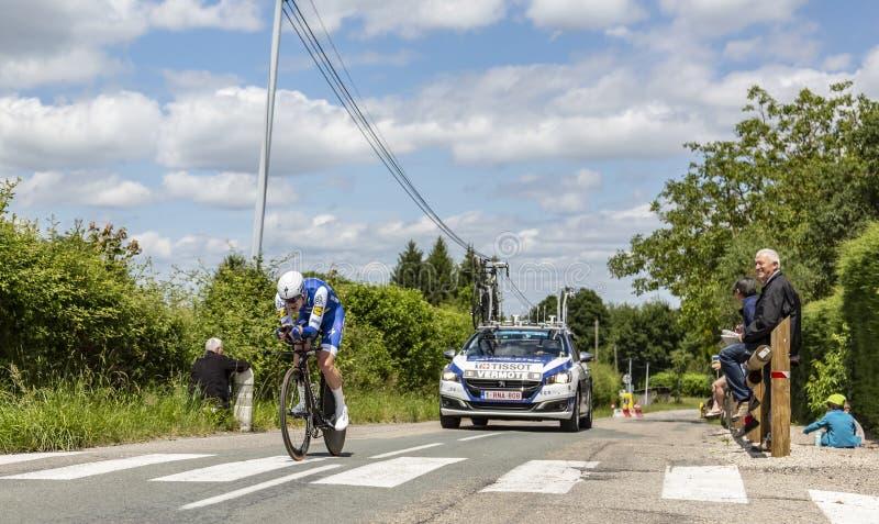 Il ciclista Julien Vermote - Criterium du Dauphine 2017 immagine stock