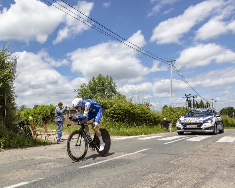 Il ciclista Julien Vermote - Criterium du Dauphine 2017 immagini stock libere da diritti