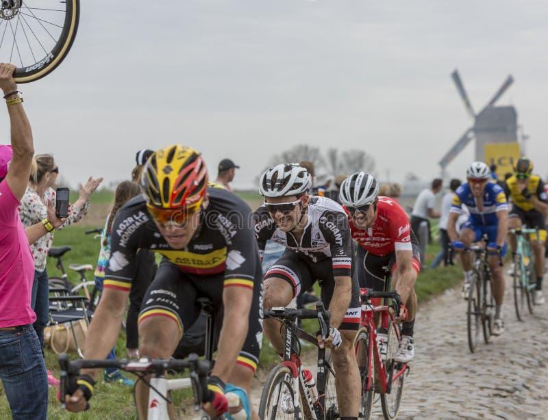 Il ciclista Mike Teunissen - Parigi-Roubaix 2018 immagini stock libere da diritti