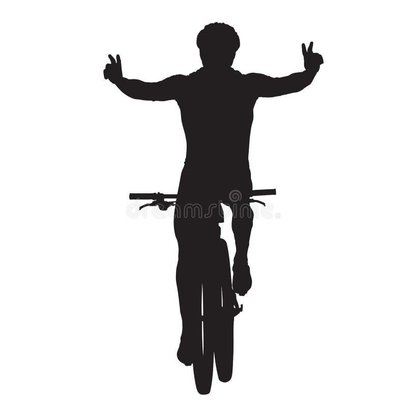 Il ciclista in mountain-bike celebra illustrazione vettoriale