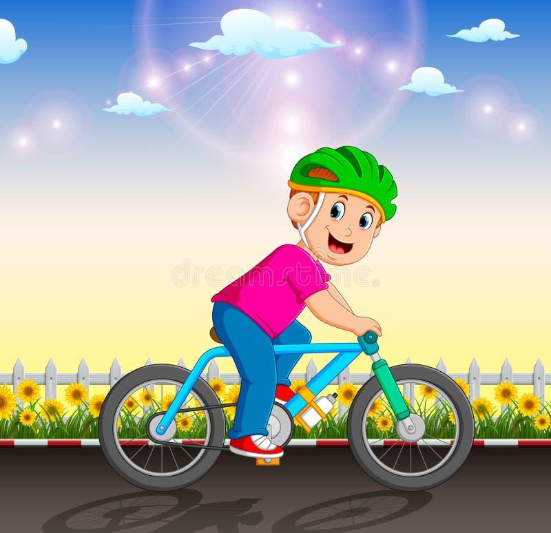 Il ciclista professionista sta guidando la bicicletta nel giardino royalty illustrazione gratis