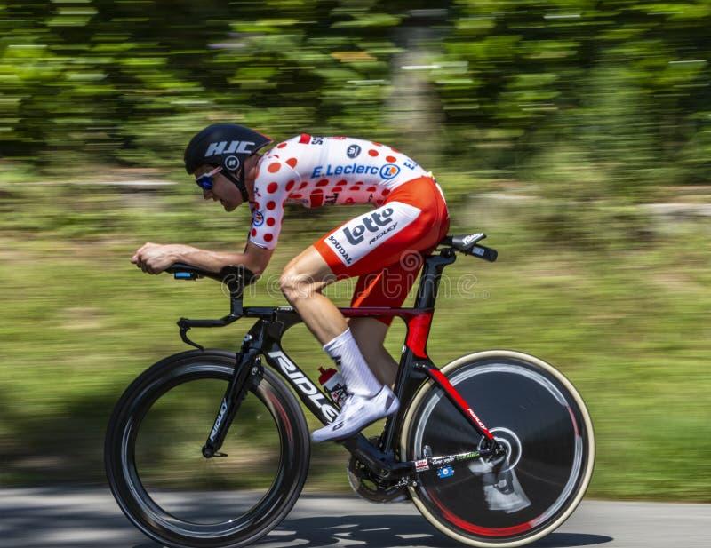 Il ciclista Tim Wellens - Tour de France 2019 immagine stock