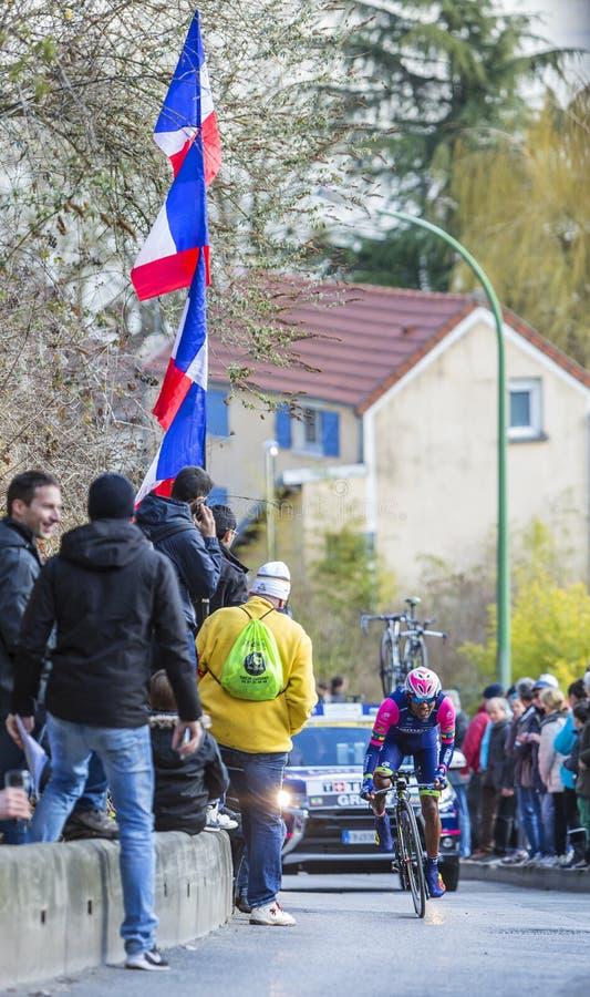 Il ciclista Tsgabu Gebremaryam Grmay - 2016 Parigi-piacevole immagine stock