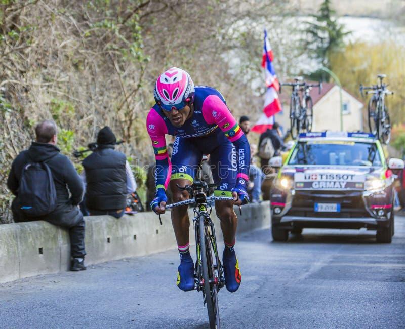 Il ciclista Tsgabu Gebremaryam Grmay - 2016 Parigi-piacevole immagini stock libere da diritti