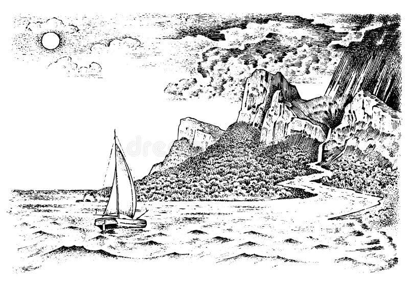 Il ciclo dell'acqua su terra Natura del paesaggio e di geografia nello stile d'annata Fondo di ecologia di concetto Retro disegna illustrazione di stock