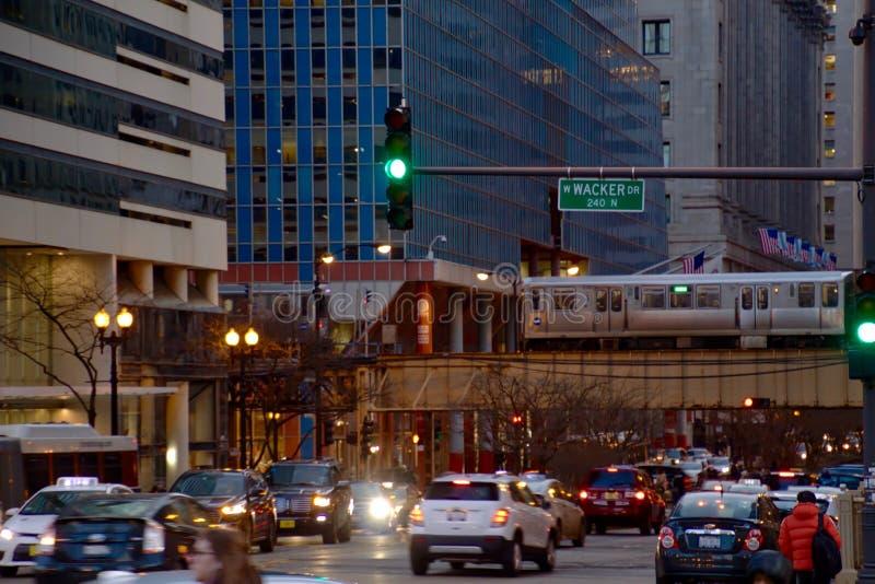 Il ciclo di Chicago durante l'ora di punta permuta fotografie stock libere da diritti