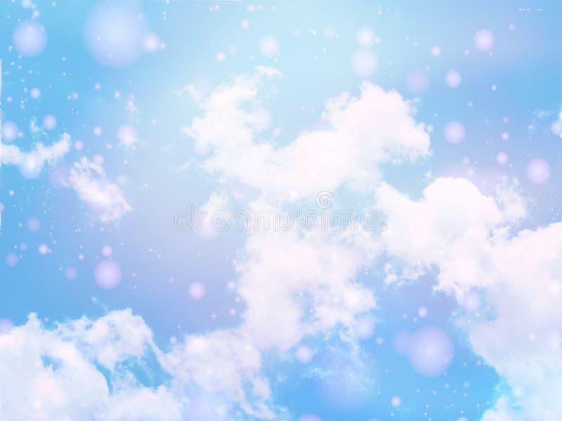 il cielo bianco e blu del fondo della nuvola con il chiarore lucent bianco accende confuso immagini stock libere da diritti