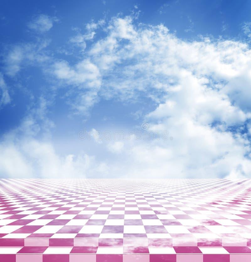 Il cielo blu con le nuvole ha riflesso nel pavimento astratto rosa della scacchiera di fantasia illustrazione di stock
