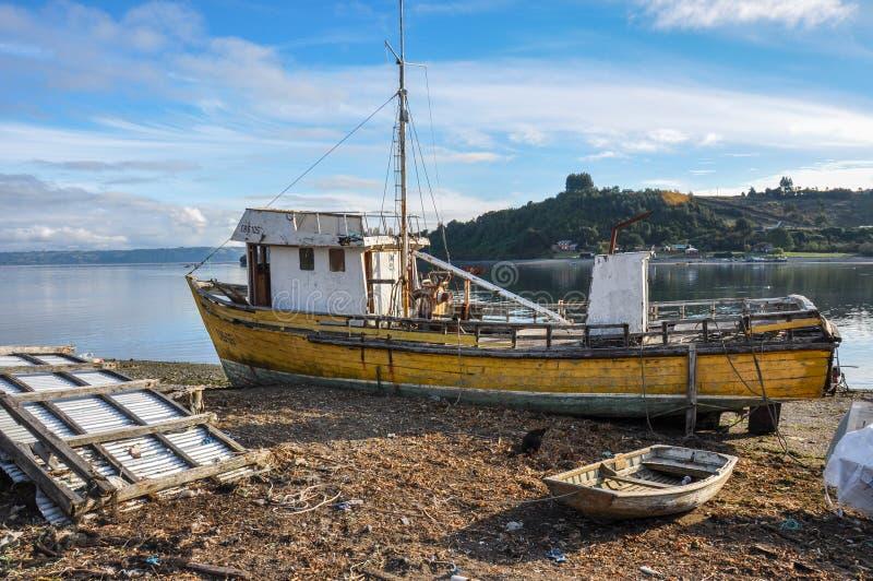 Il cielo del pescatore, isola di Chiloé, Cile fotografia stock