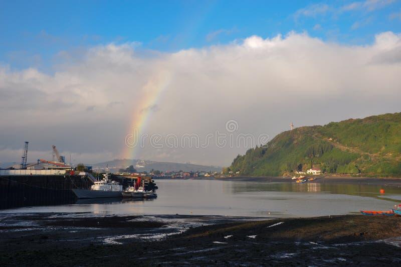 Il cielo del pescatore, isola di Chiloe, Cile immagini stock