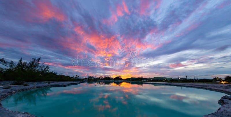 Il cielo dopo il tramonto sopra lo stagno di verde smeraldo Stratocumuli e altostrati immagini stock libere da diritti