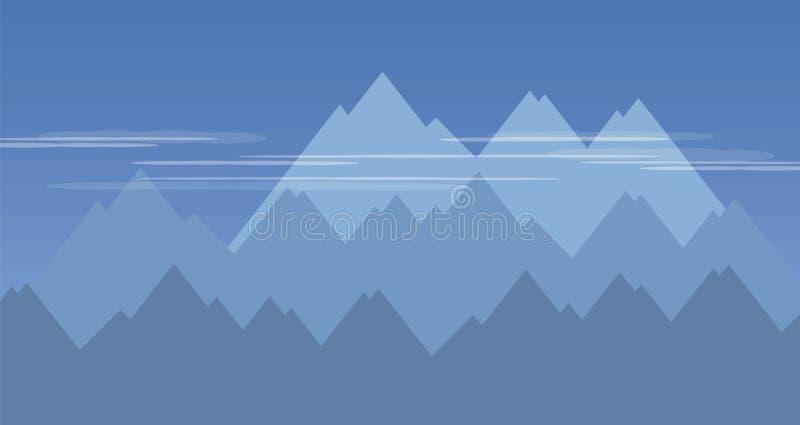 Il cielo rampicante rampicante distante di bianco traslucido delle scogliere blu delle montagne si appanna leggermente l'illustra royalty illustrazione gratis