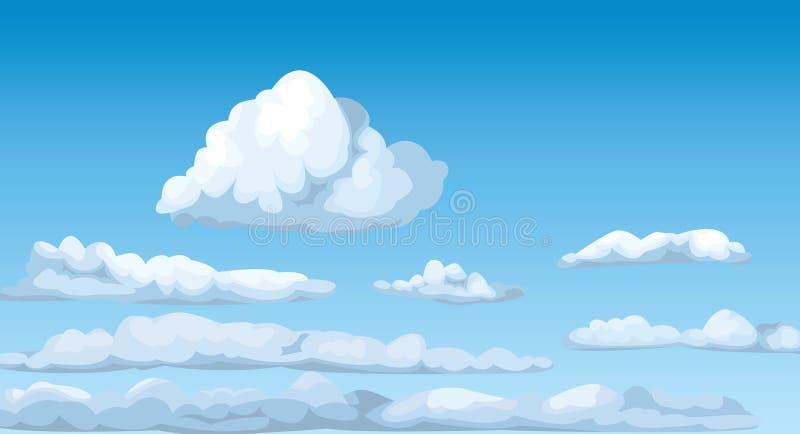 Il cielo soleggiato blu di Cloudscape si appanna il vettore lanuginoso di cielo dell'atmosfera del cumulo illustrazione vettoriale