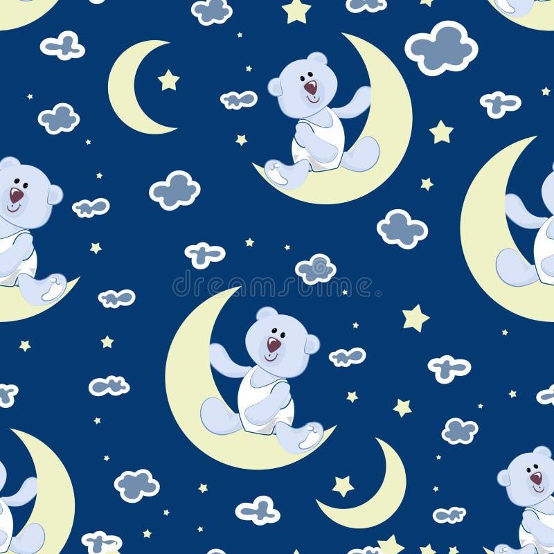 Il cielo stellato, una giovane luna e un orso polare figliano royalty illustrazione gratis