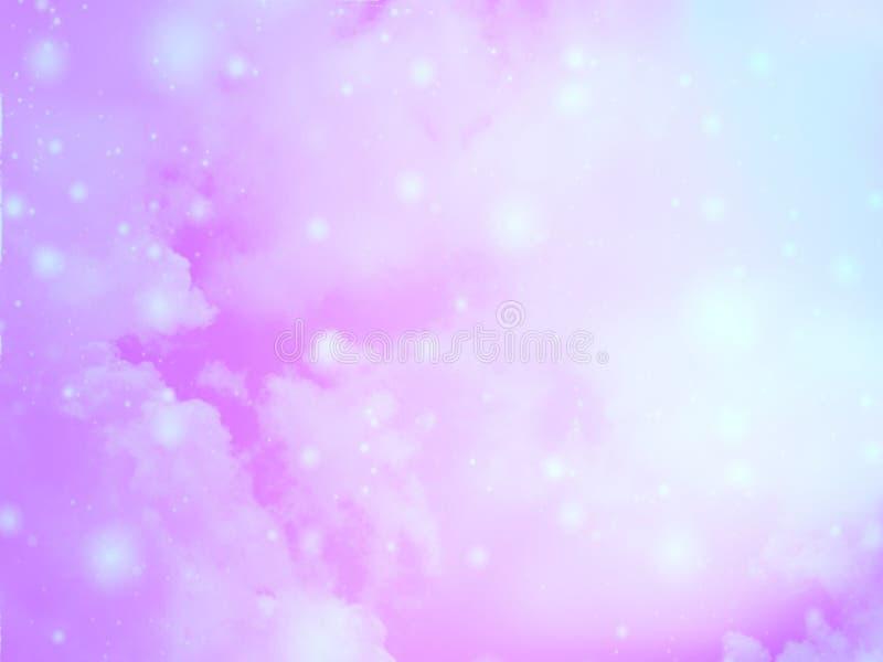 Il cielo variopinto vago del fondo con bokeh lucent bianco accende confuso fotografia stock libera da diritti
