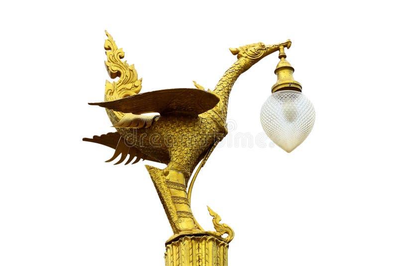 Il cigno dorato là è una lampada alla bocca immagine stock