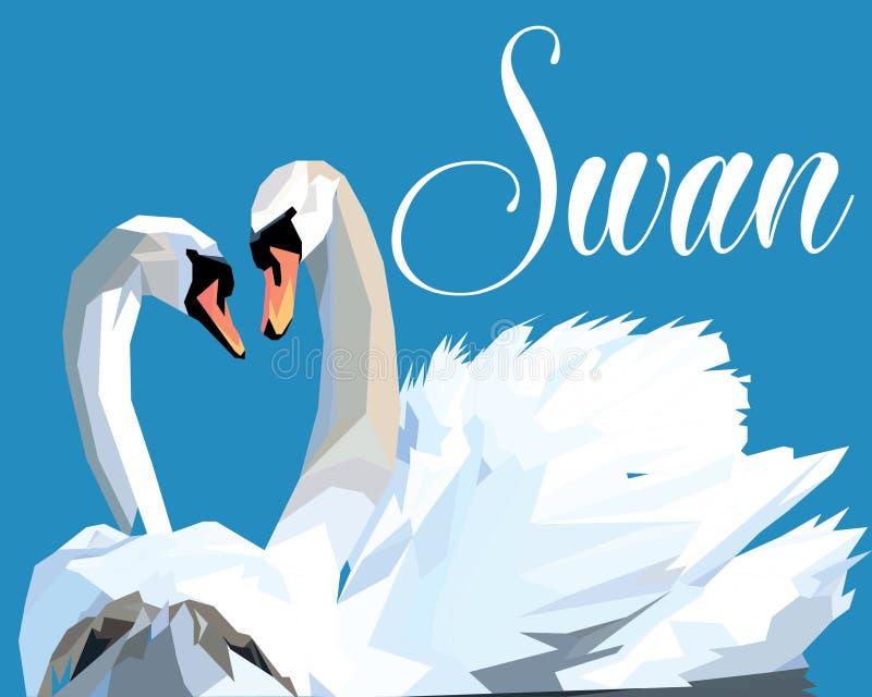 Il cigno si innamora, bacio delle coppie degli uccelli, Pop art di forma del cuore di due animali illustrazione di stock