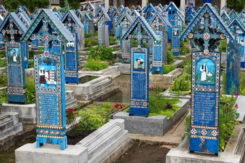 Il cimitero allegro in Sapanta, Romania fotografie stock libere da diritti