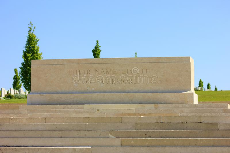 Il cimitero austalian del fisrt worldwar al bretonneux di villers in Piccardia immagine stock libera da diritti