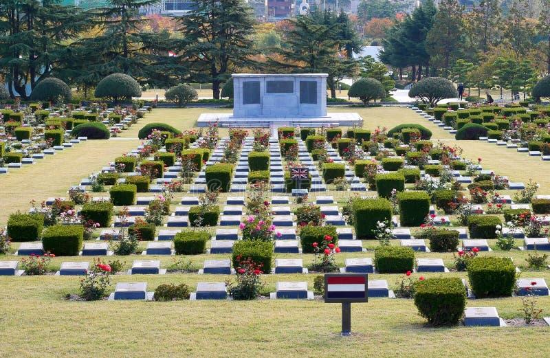 Il cimitero commemorativo delle nazioni unite in Corea immagini stock