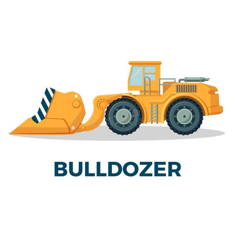 Il cingolo del bulldozer ha seguito il trattore fornito di di piastra metallica sostanziale illustrazione vettoriale