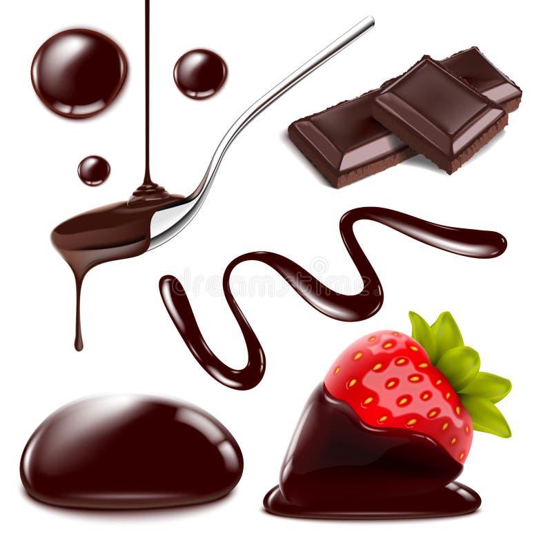 Il cioccolato di vettore isolato obietta il grande insieme Illustrazione realistica della spruzzata fusa, delle gocce e della fra royalty illustrazione gratis
