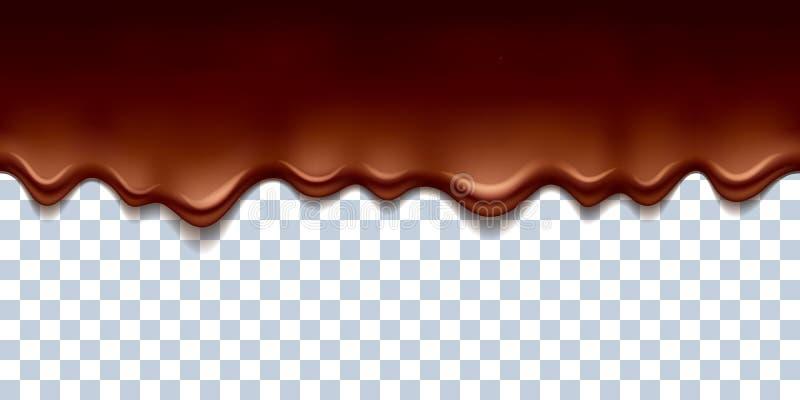 Il cioccolato scorrente Melted gocciola l'illustrazione di vettore del confine illustrazione vettoriale