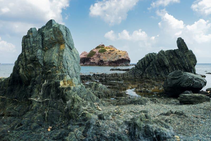 Il Cipro, costa della penisola di Akamas fotografia stock libera da diritti