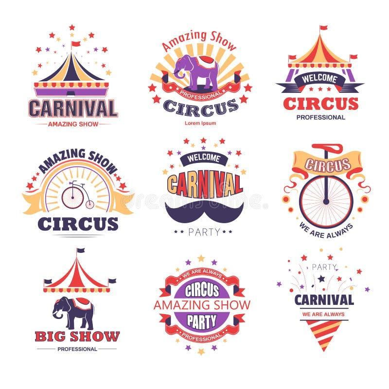 Il circo e la manifestazione ed il partito di carnevale hanno isolato le icone illustrazione di stock