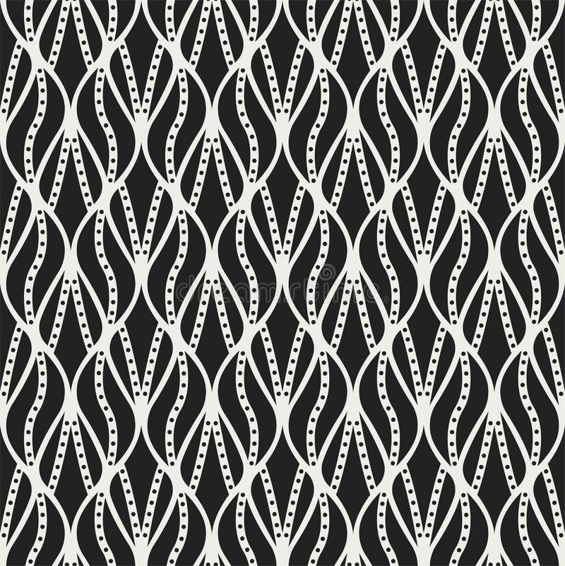 Il classico lascia Art Deco Seamless Pattern Struttura alla moda della foglia geometrica Retro struttura di vettore della piuma a illustrazione di stock