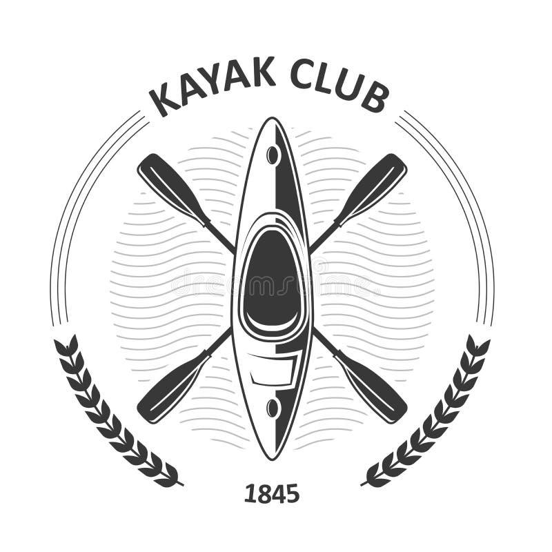 Il club di kayak simbolizza - la canoa e due hanno attraversato le pagaie, kajak illustrazione di stock