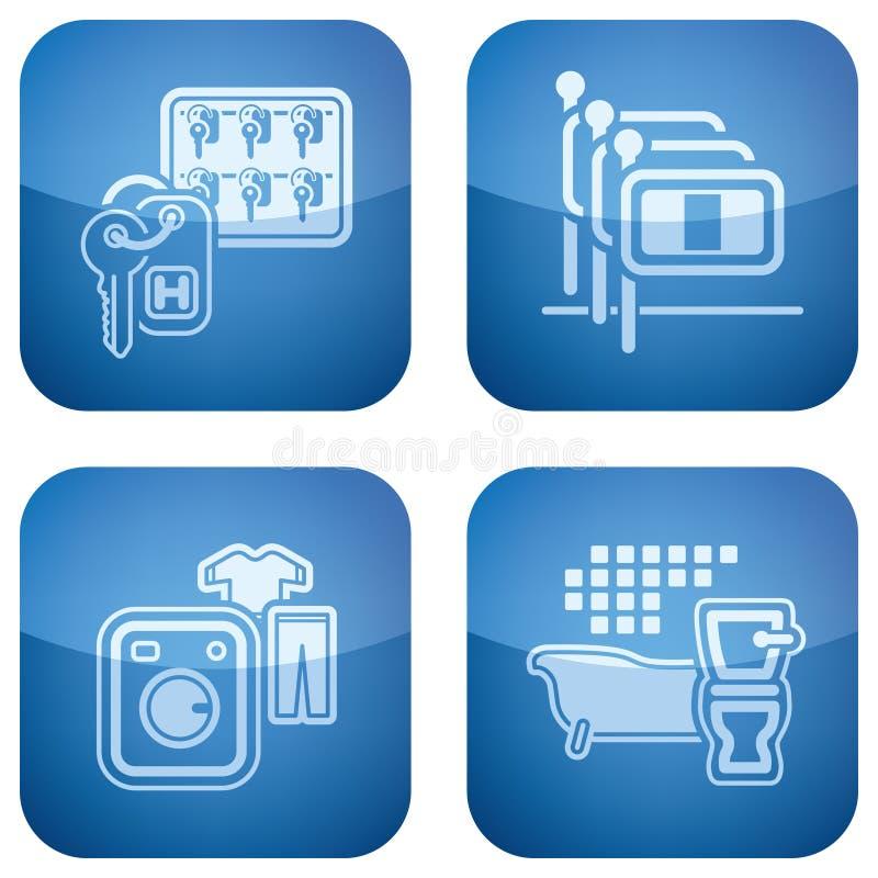 Il cobalto 2D ha quadrato le icone impostate: Hotel illustrazione vettoriale