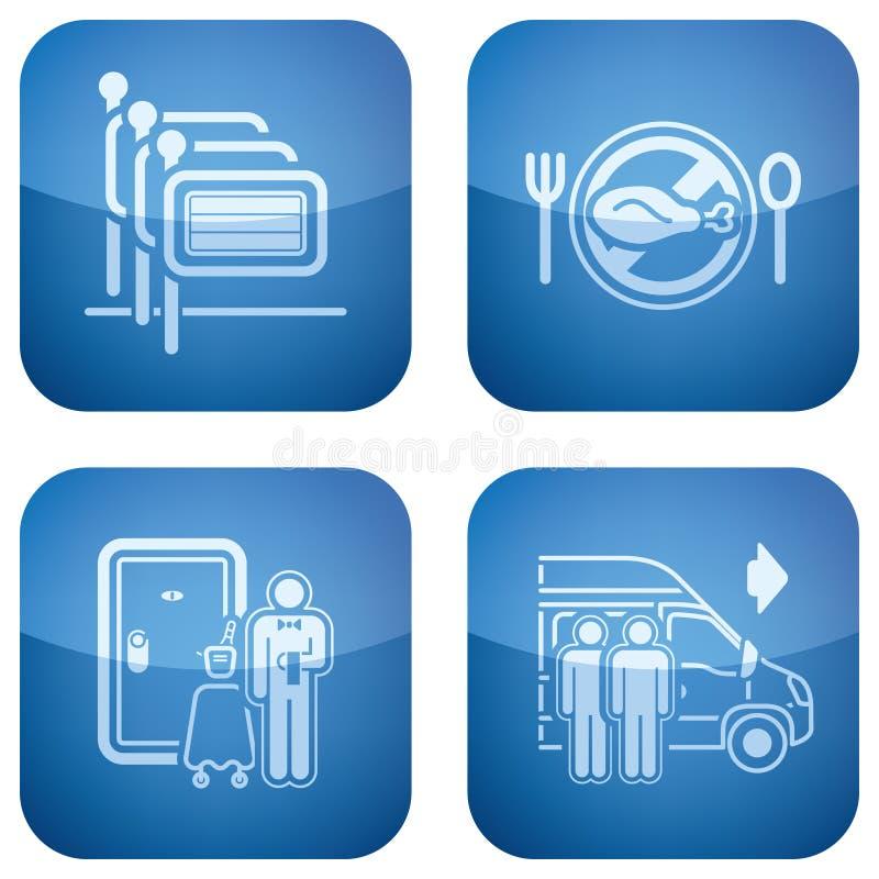 Il cobalto 2D ha quadrato le icone impostate: Hotel illustrazione di stock
