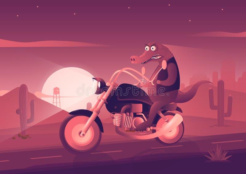 Il coccodrillo sulla bici Illustrazione di arte illustrazione vettoriale