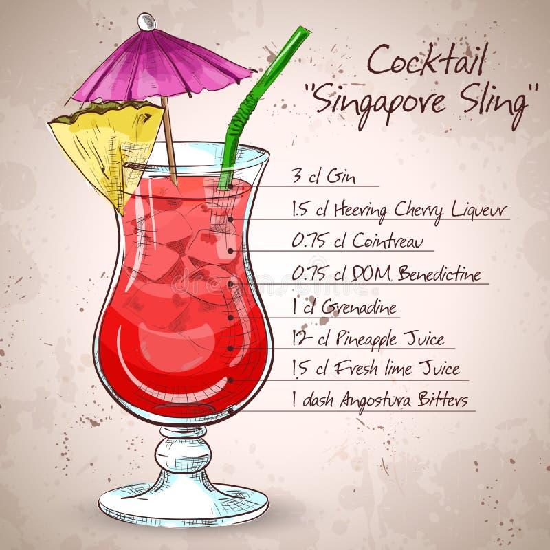 Il cocktail dell'imbracatura di Singapore illustrazione vettoriale