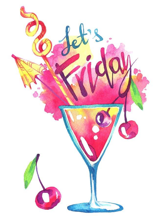 Il cocktail tropicale dell'acquerello, parole lascia venerdì Illustrazione dipinta a mano di estate Partito, bevande illustrazione di stock