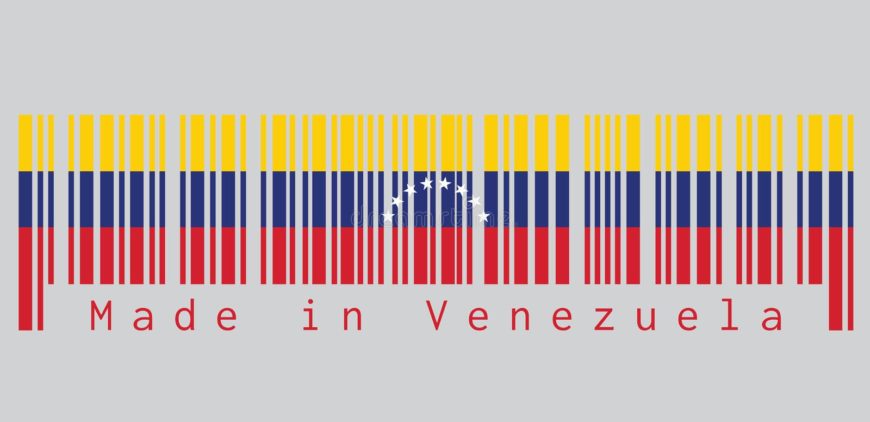 Il codice a barre ha fissato il colore della bandiera del Venezuela, testo: Fatto nel Venezuela concetto della vendita o dell'aff illustrazione vettoriale