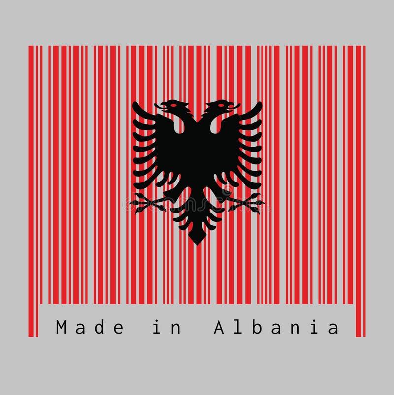 Il codice a barre ha fissato il colore della bandiera dell'Albania, un rosso con l'aquila dalla testa doppio nera su fondo bianco illustrazione di stock