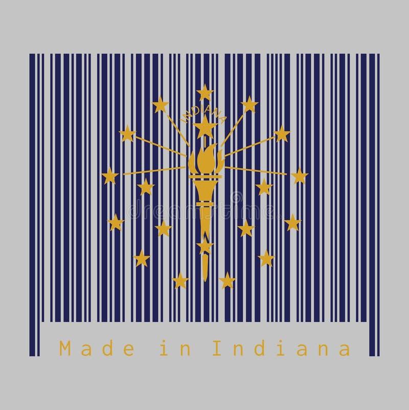 Il codice a barre ha fissato il colore della bandiera dell'Indiana, una torcia dell'oro circondata da un cerchio esterno di tredi illustrazione vettoriale