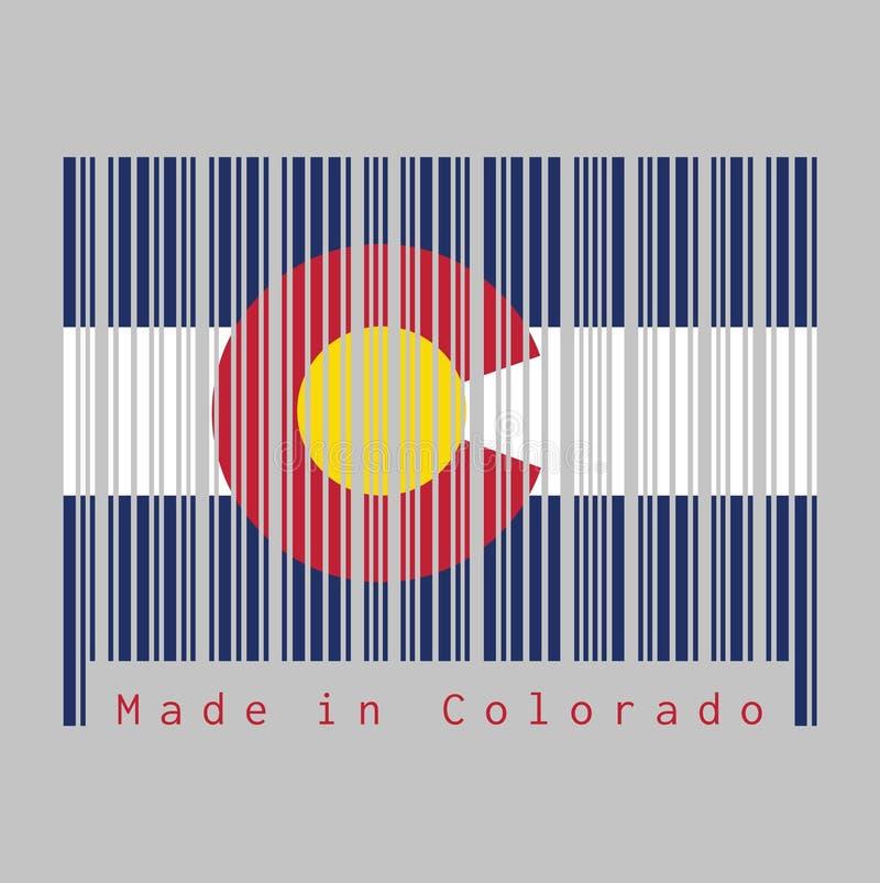 """Il codice a barre ha fissato il colore della bandiera di Colorado, tre bande orizzontali di bianco e blu blu un rosso circolare """" illustrazione di stock"""