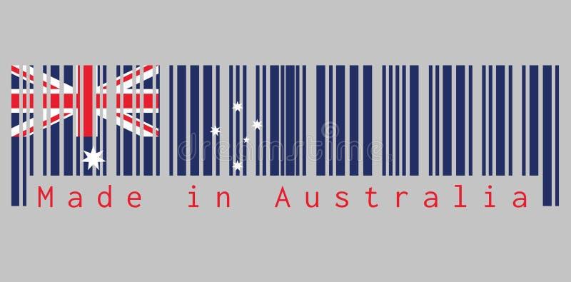 Il codice a barre ha messo il colore della bandiera dell'Australia, il colore di bianco e di rosso blu con la stella bianca e Uni illustrazione di stock