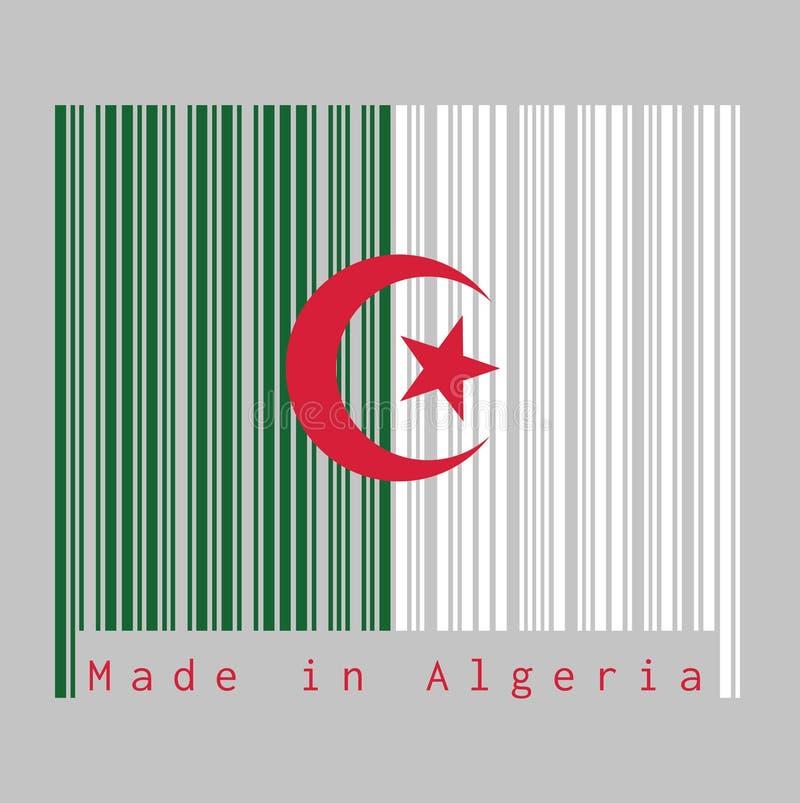 Il codice a barre hanno fissato il colore della bandiera dell'Algeria, verde e bianco con una stella e una mezzaluna rosse su fon illustrazione di stock