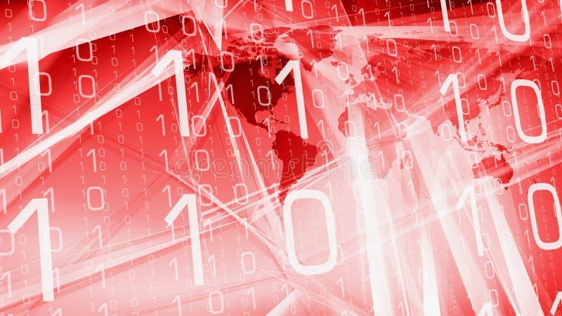 Il codice binario numera la mappa zero di mondo ed uno illustrazione vettoriale