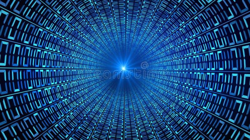 Il codice binario numera nel moto astratto blu della velocità in strada principale illustrazione di stock