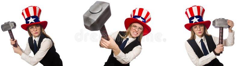 Il collage con la donna ed il cappello americano fotografie stock libere da diritti
