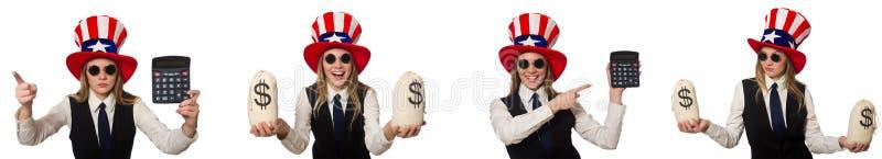 Il collage con la donna ed il cappello americano fotografia stock