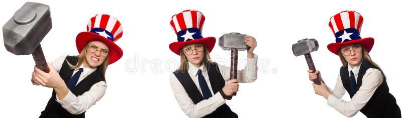 Il collage con la donna ed il cappello americano immagini stock
