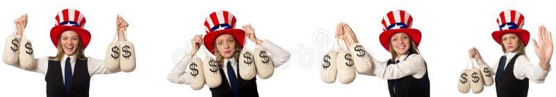 Il collage con la donna ed il cappello americano fotografie stock